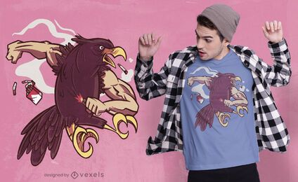 Diseño de camiseta de águila musculosa fumando