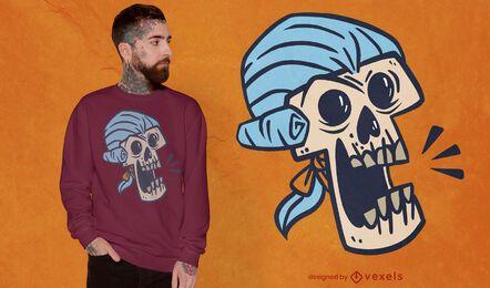 Pulverisiertes Perückenschädel-T-Shirt Design