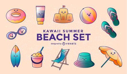 Conjunto de praia de verão kawaii