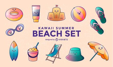 Set de playa de verano kawaii