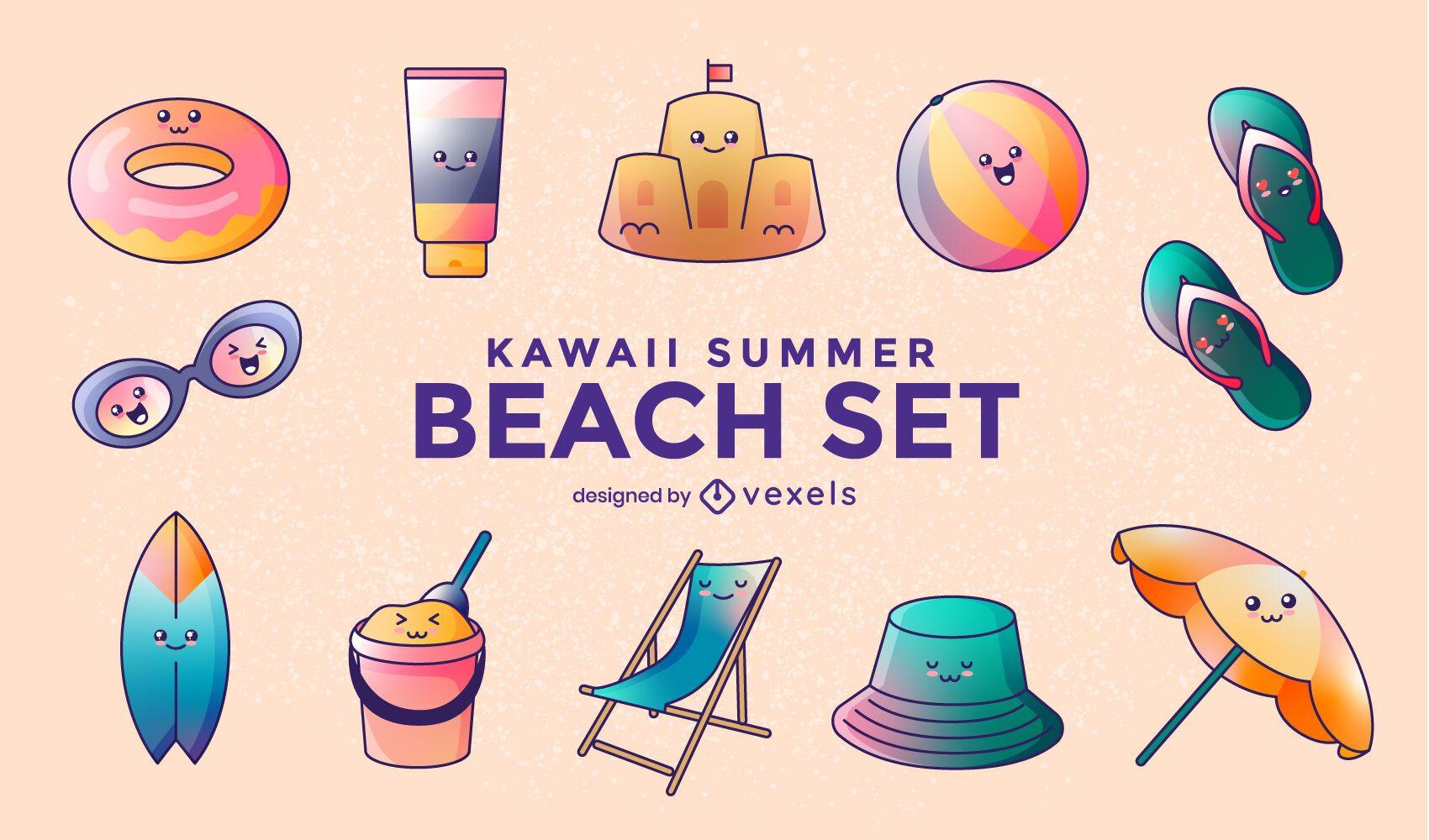 Set de playa de verano kawaii