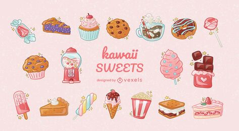 Kawaii sweet elements set