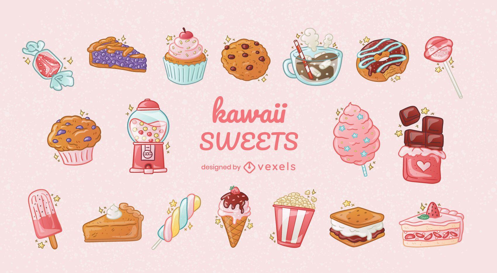 Conjunto de elementos dulces kawaii