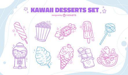 Dessert line art set