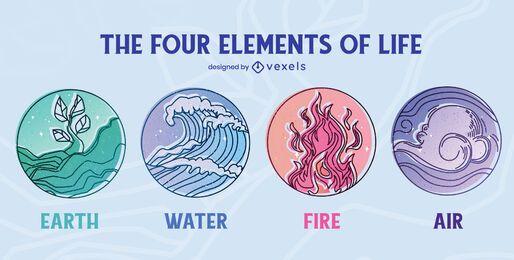 Conjunto de quatro elementos do emblema de vida