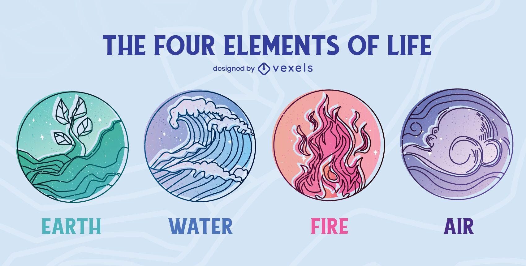 Conjunto de insignias de cuatro elementos de la vida.