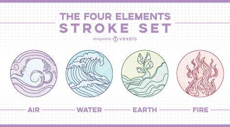 Insignias de arte de línea de cuatro elementos.