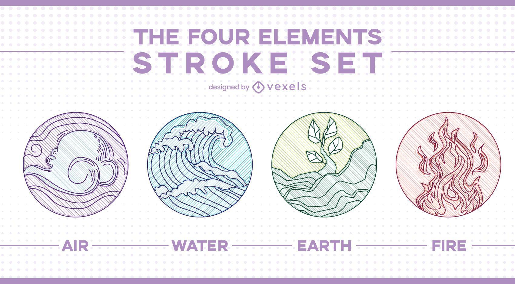 Four elements line art badges