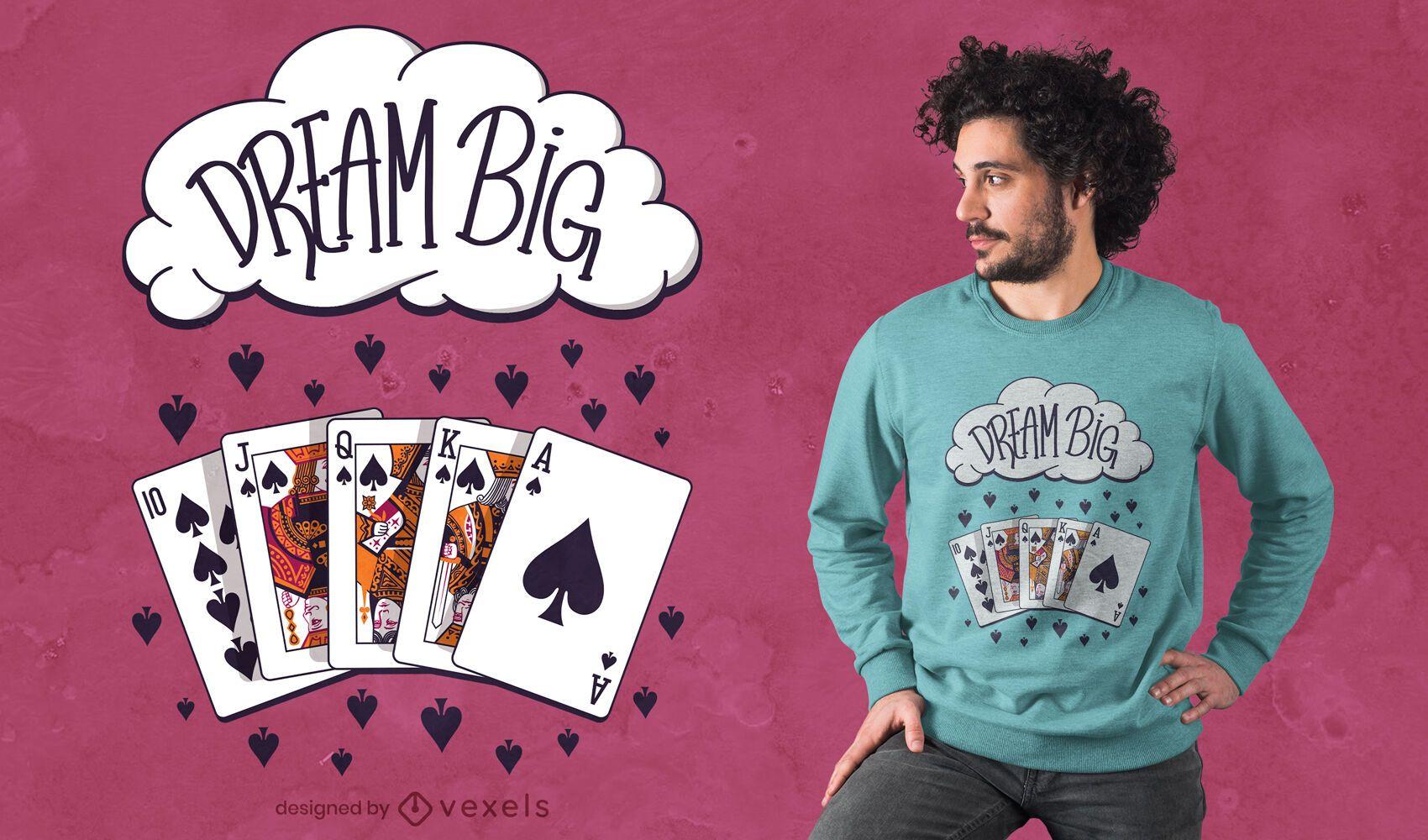 Design de t-shirt de grande mão de pôquer dos sonhos