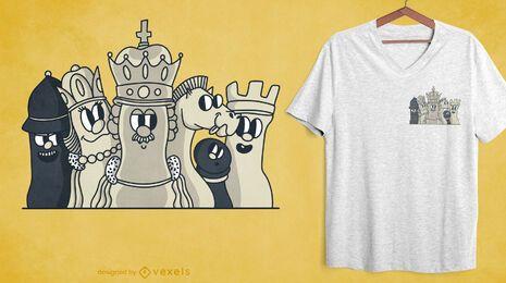 Diseño de camiseta de bolsillo de personajes de ajedrez.