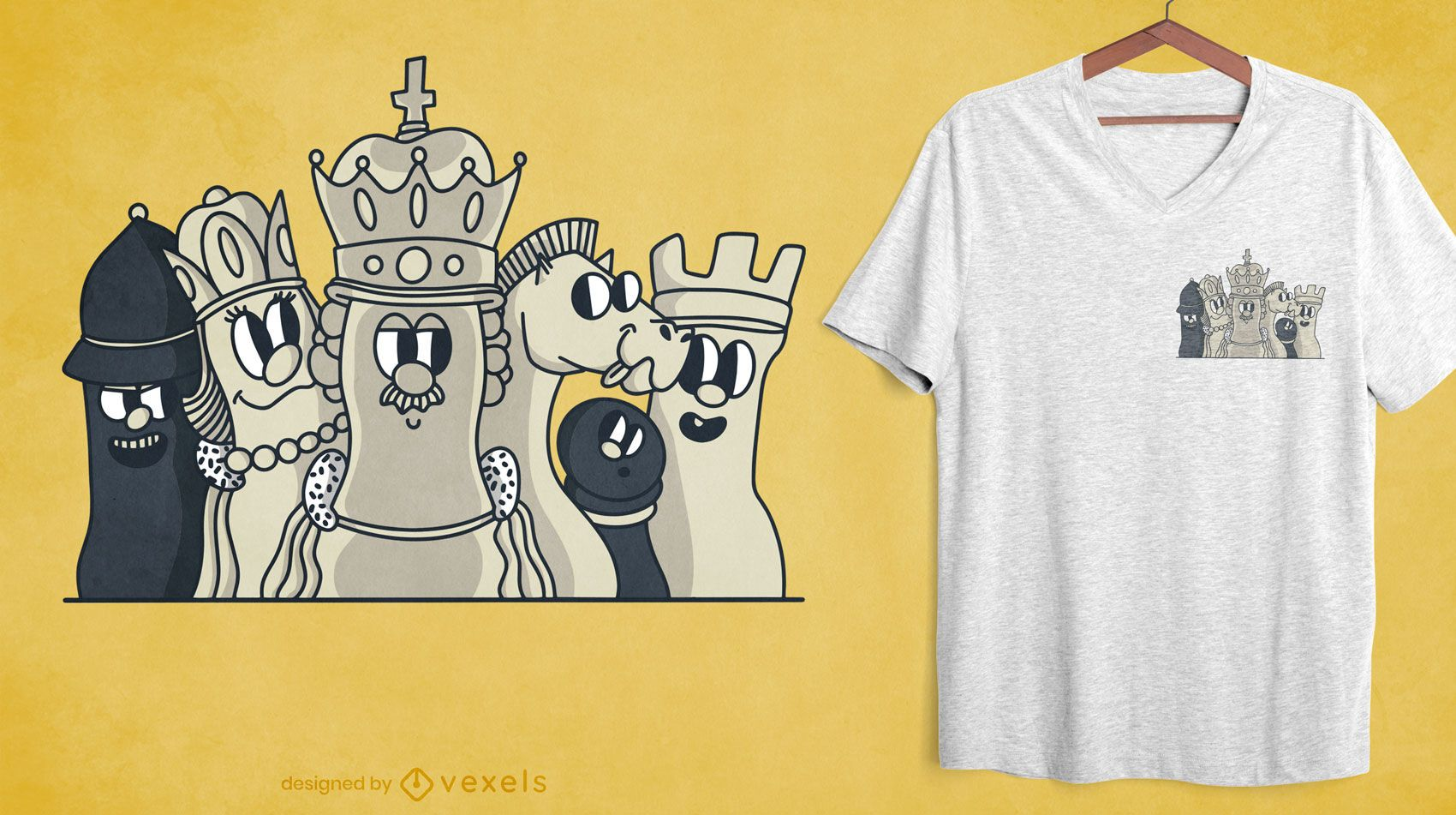 Chess characters pocket t-shirt design