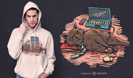 Diseño de camiseta de gato de trabajo desde casa