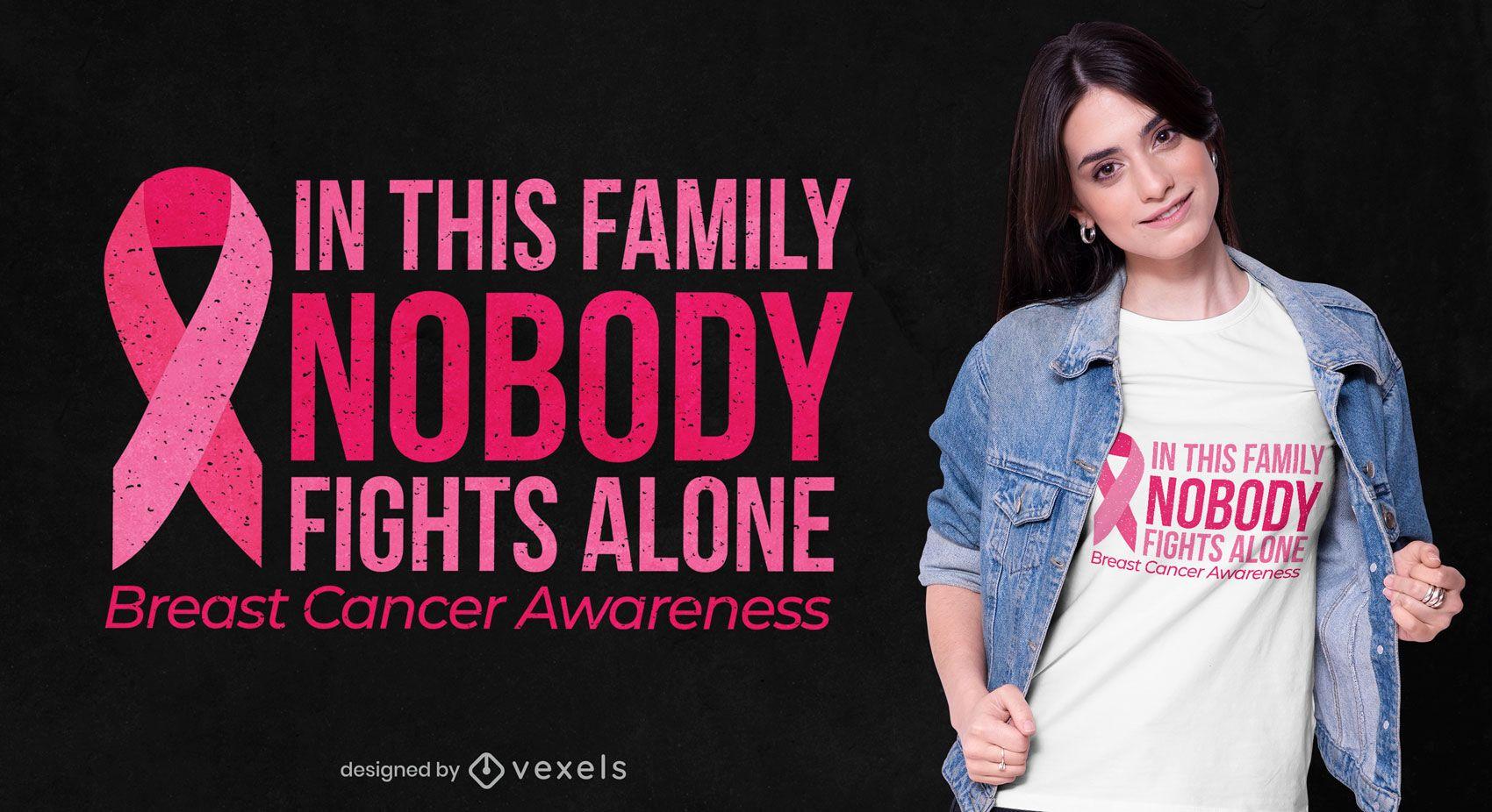 Diseño de camiseta con cita de concienciación sobre el cáncer de mama