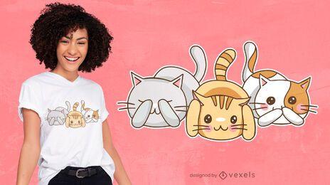 Diseño de camiseta de tres gatitos sabios.