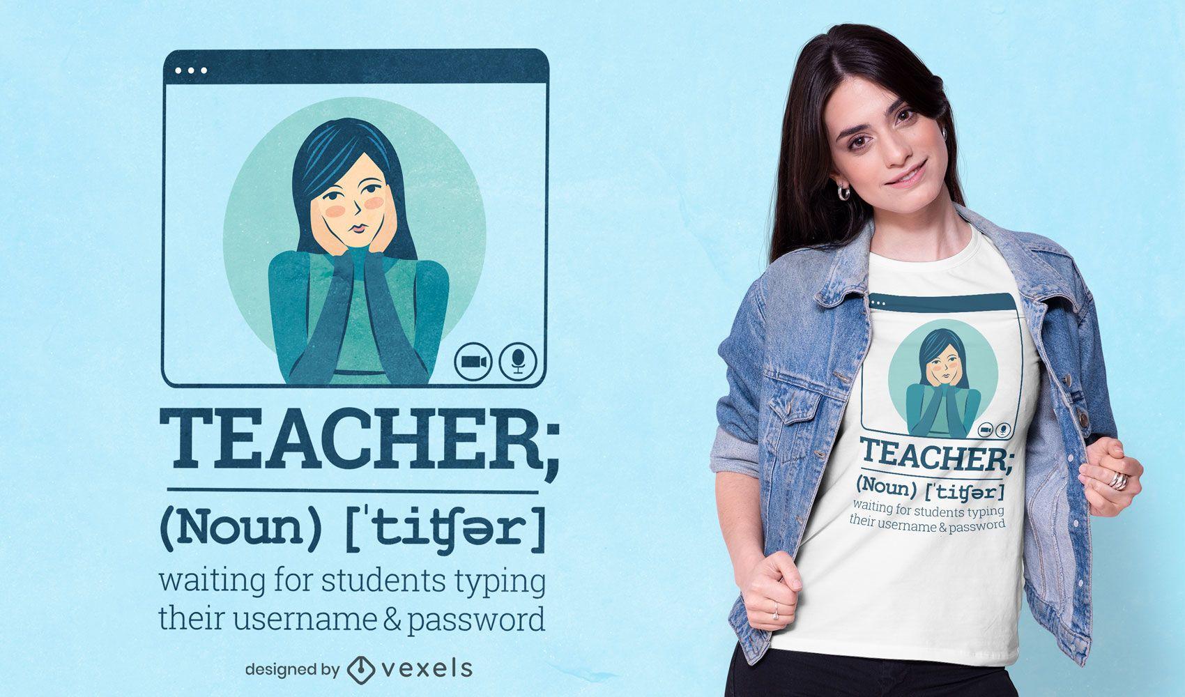 Diseño de camiseta de definición de profesor.