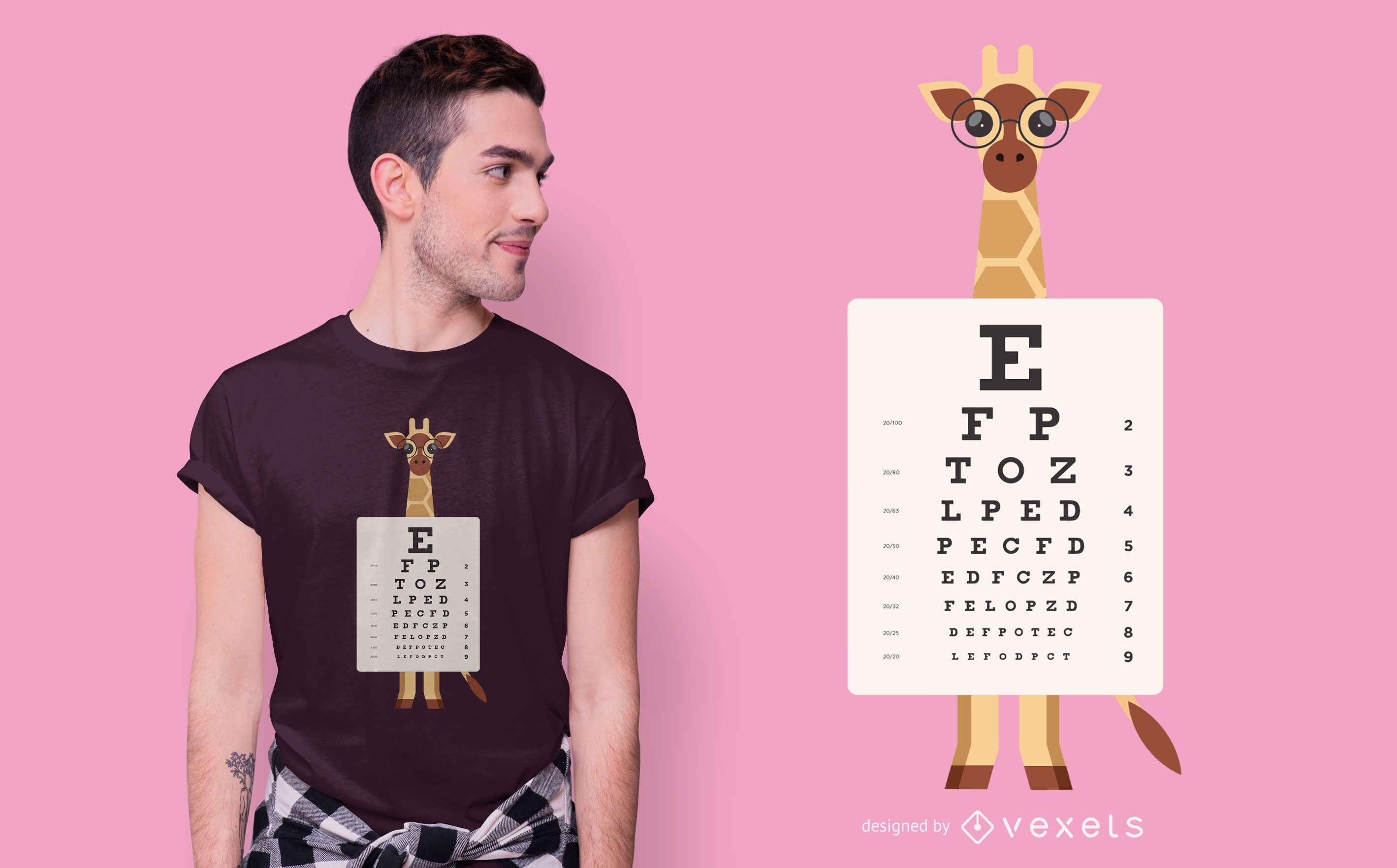 Giraffe eye chart t-shirt design