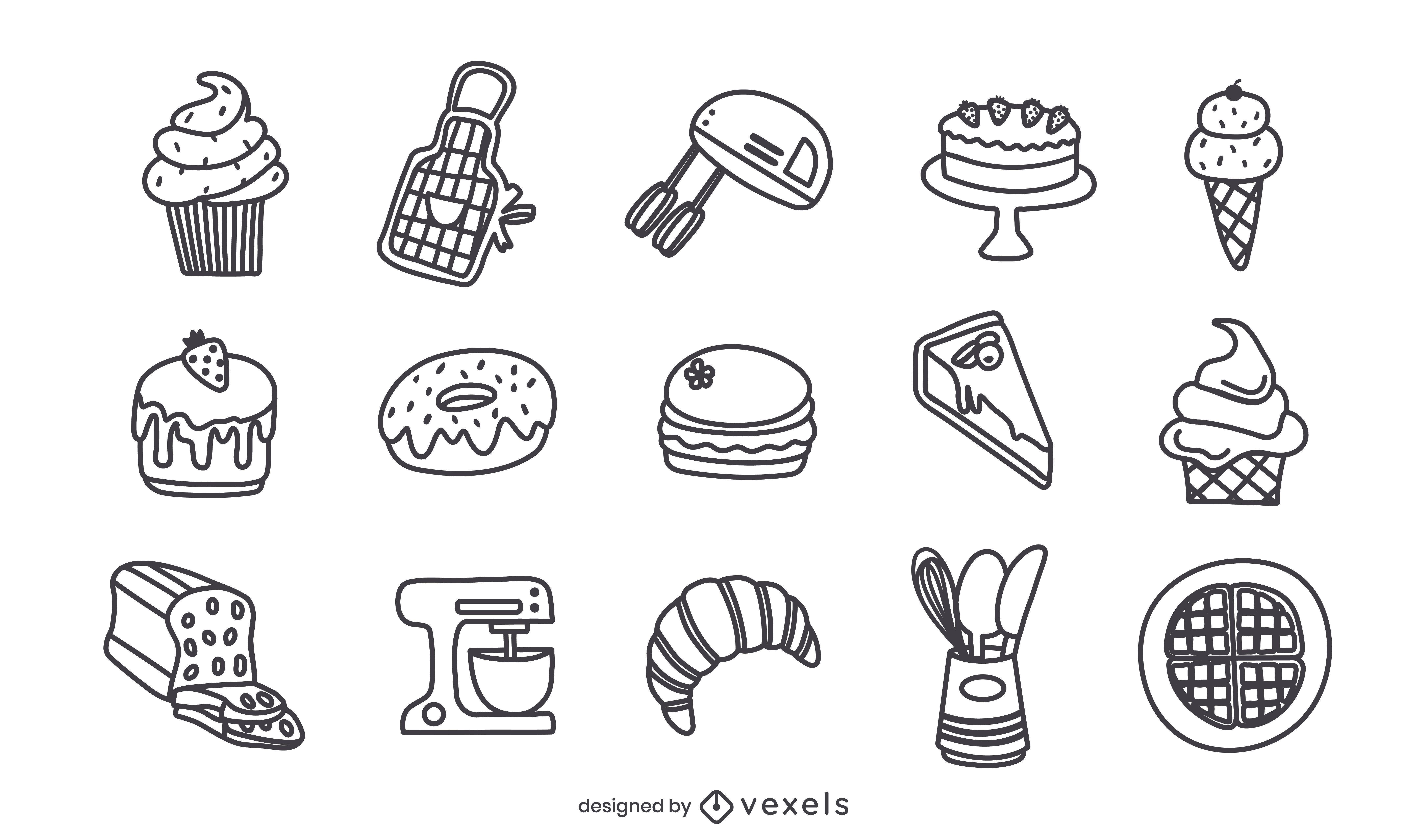 Conjunto de trazos de elementos de panadería