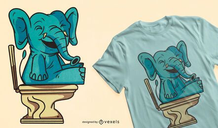 Diseño de camiseta de baño elefante.