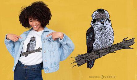 Diseño de camiseta de pájaro Kookaburra en rama
