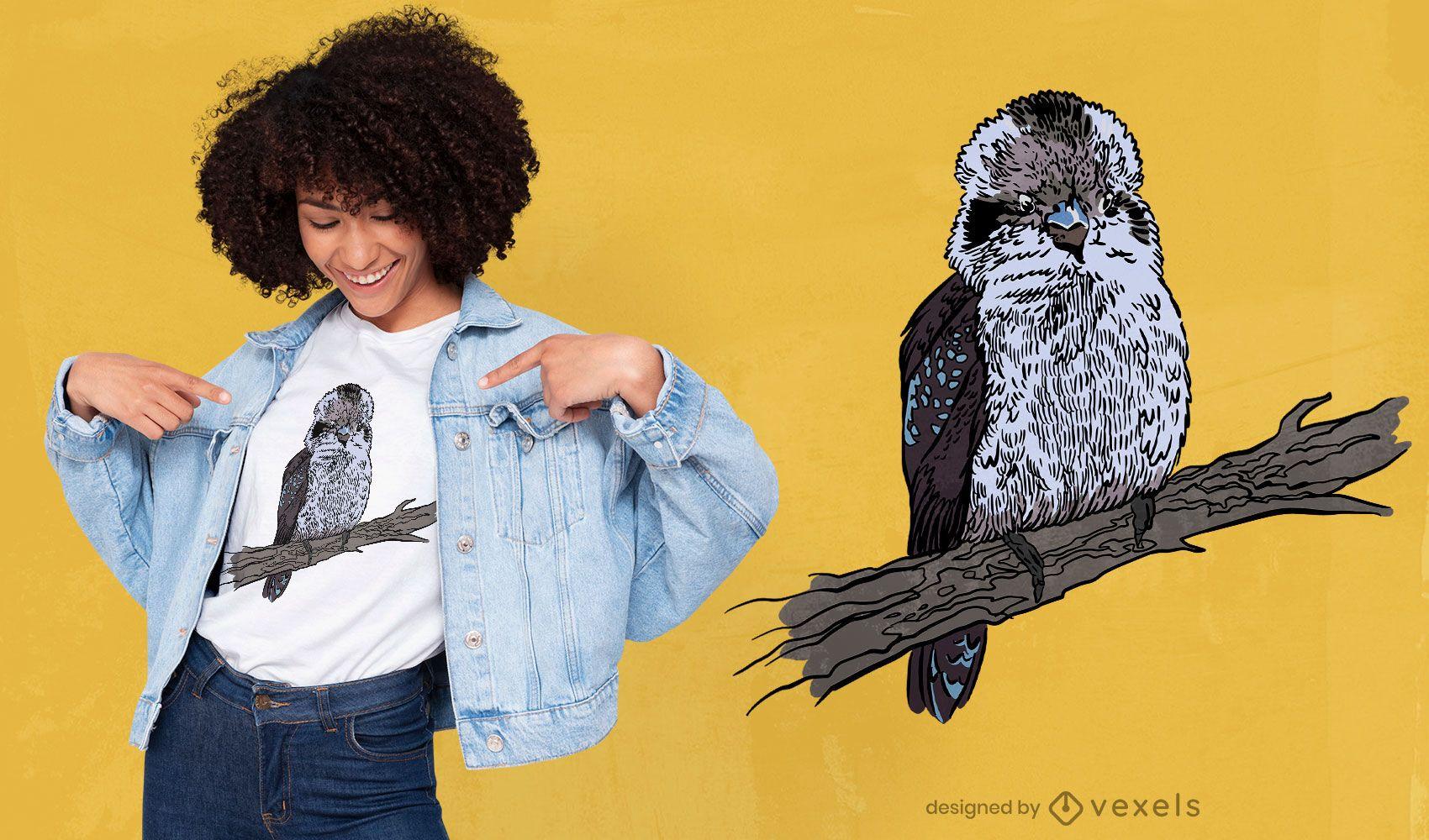 Kookaburra Vogel auf Zweig T-Shirt Design