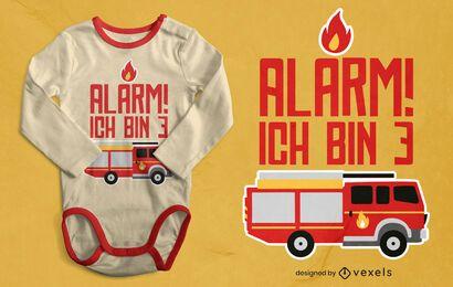 Diseño de camiseta de cumpleaños de camión de bomberos.