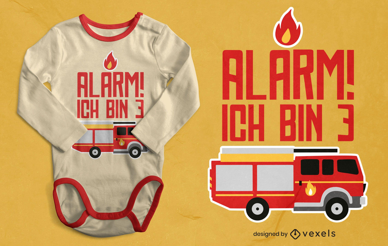 Firetruck birthday t-shirt design