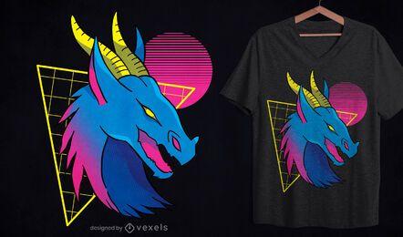 Diseño de camiseta con cara de dragón de neón