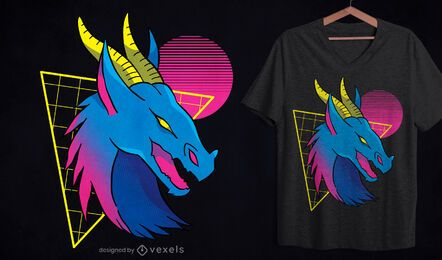 Neon dragon face t-shirt design