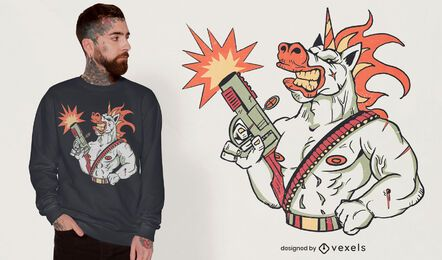 War unicorn in battle t-shirt design