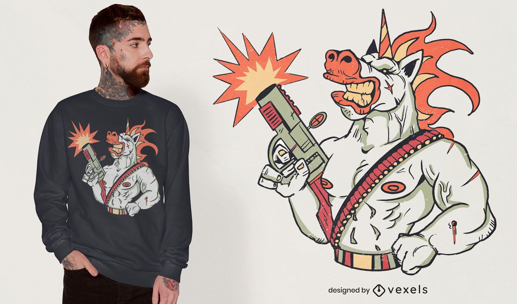 War unicorn in battle t-shirt design