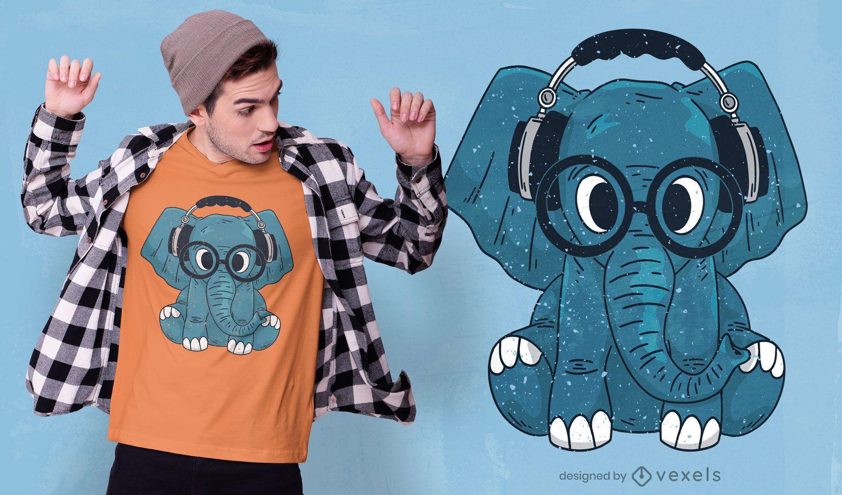 Elefante com design de camiseta de óculos
