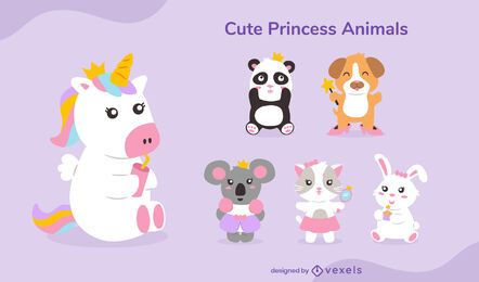Cute princess animal set