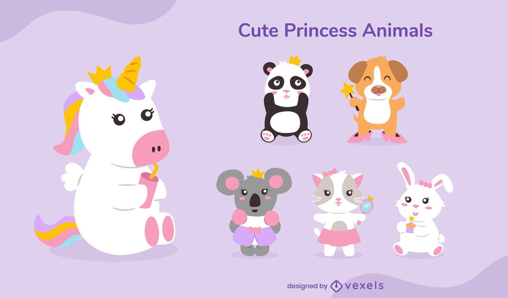 Conjunto de animais princesa fofa