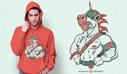 Diseño de camiseta de combate de unicornio médico.