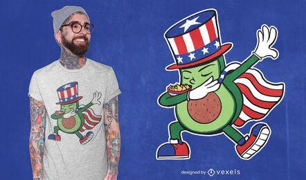 Design de t-shirt com toque de abacate patriótico