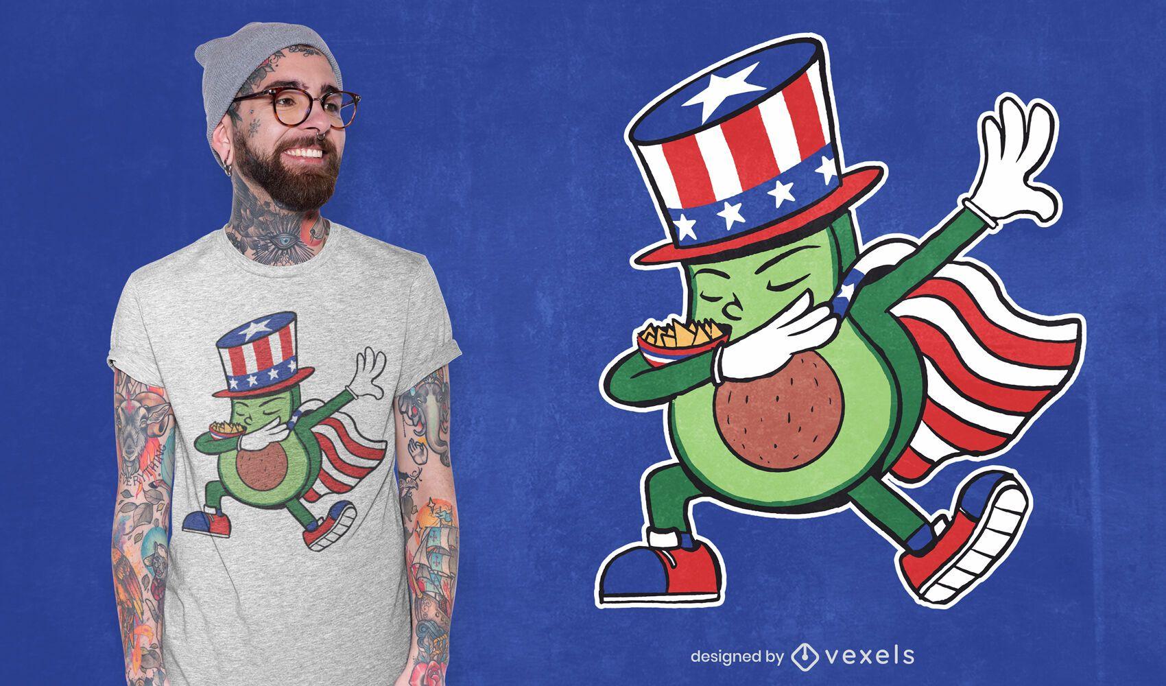 Diseño de camiseta de dabbing de aguacate patriótico.