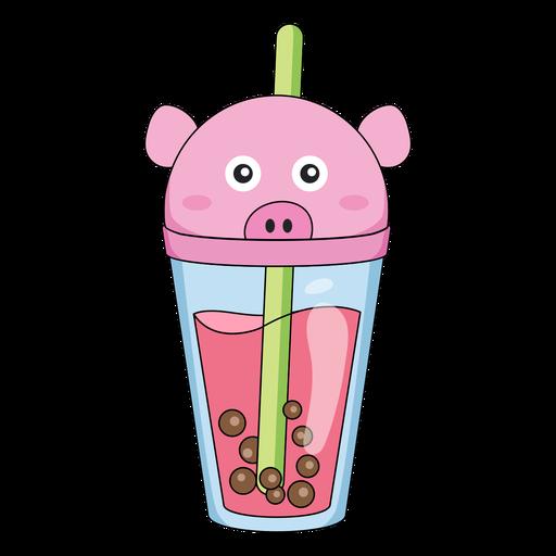 Bubble tea pig cap color stroke