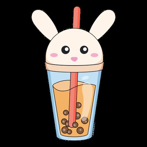 Bubble tea rabbit cap color stroke