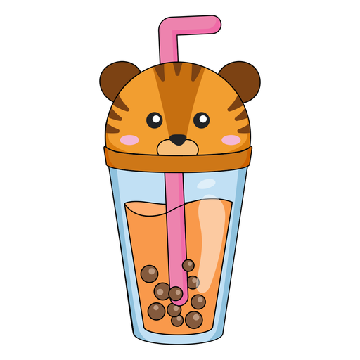 Bubble tea tiger cap color stroke