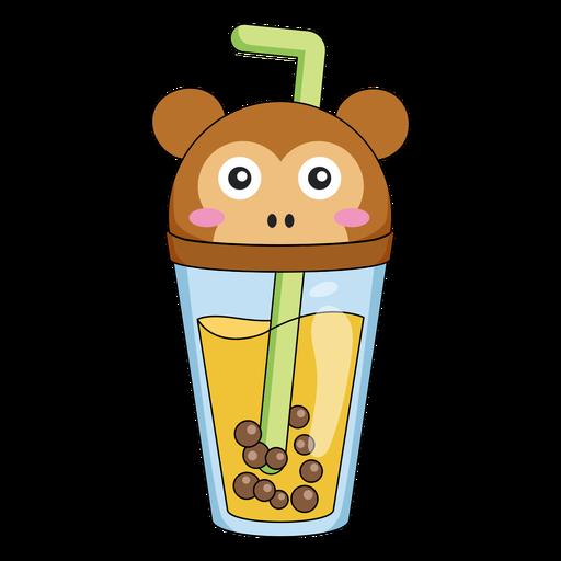 Bubble tea monkey cap color stroke