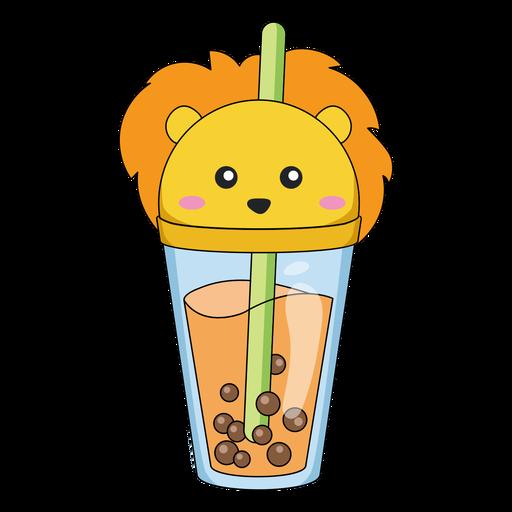 Bubble tea lion cap color stroke