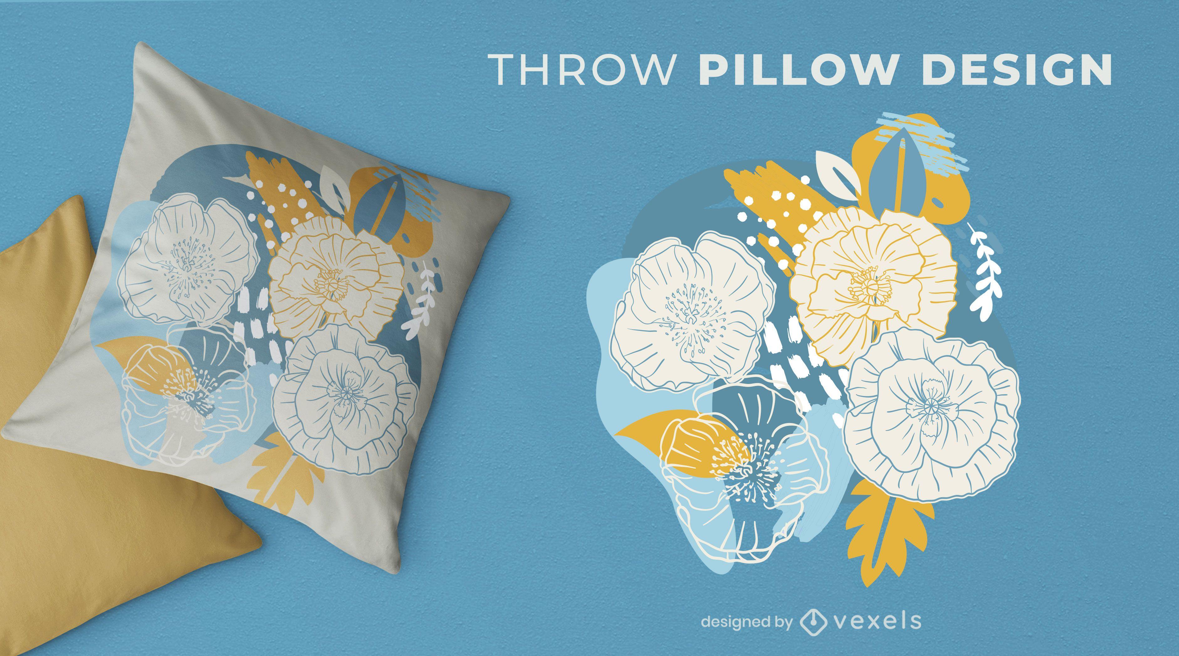 Abstract floral throw pillow design