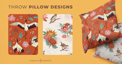 Chinese nature throw pillow designs