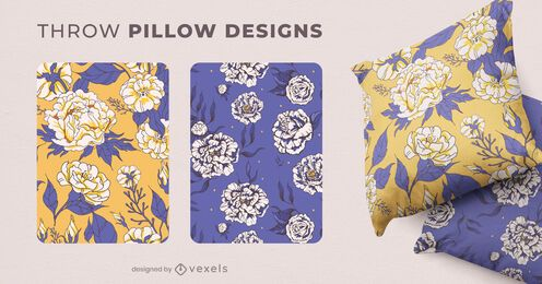 Blooming flowers throw pillow designs