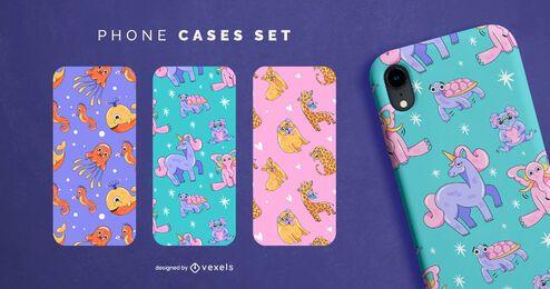 Conjunto de capa de telefone de animais de desenho animado