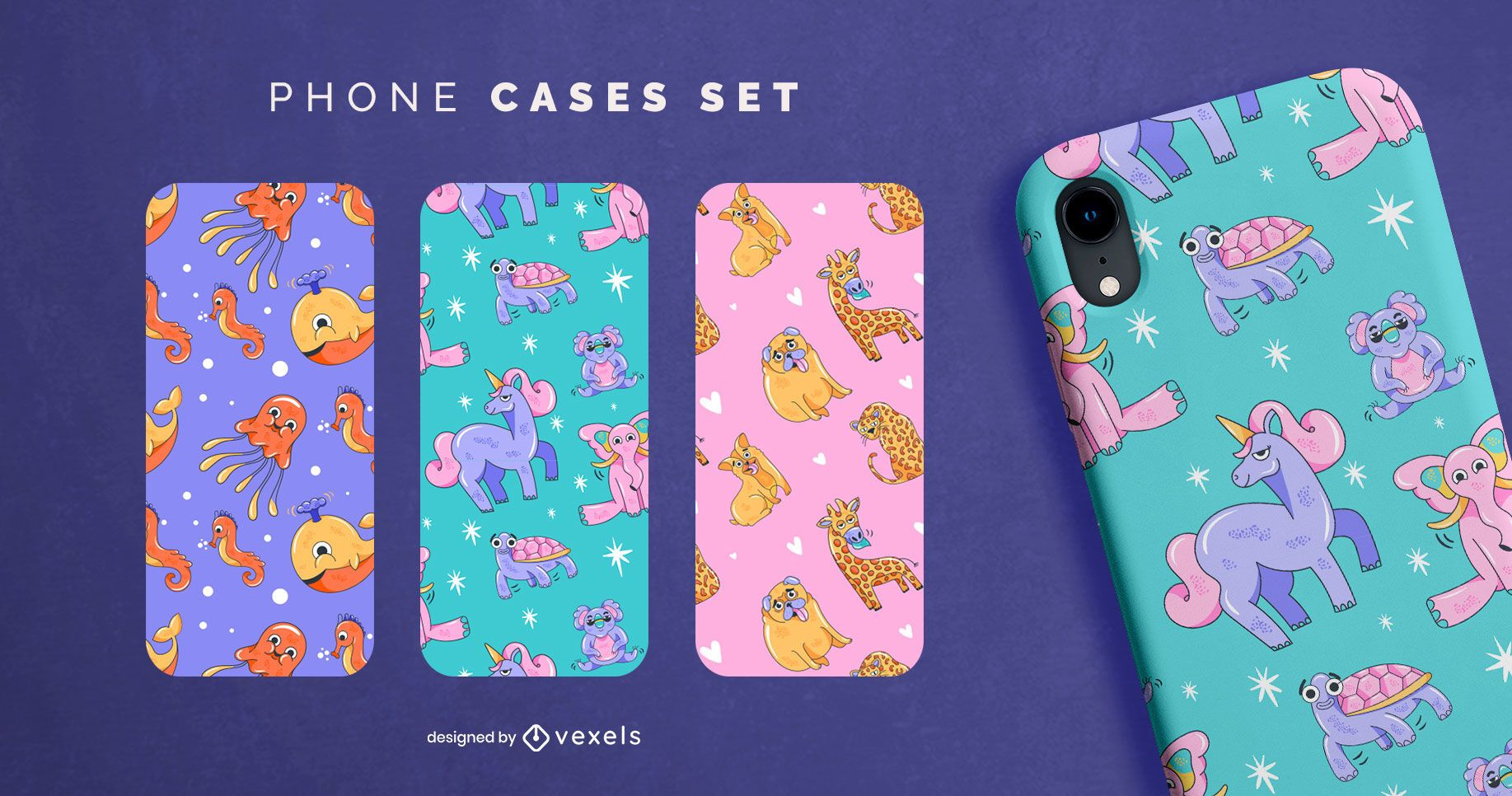 Cartoon animals phone case set