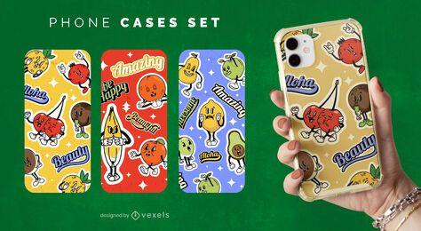 Conjunto de capa de telefone cartoon frutas