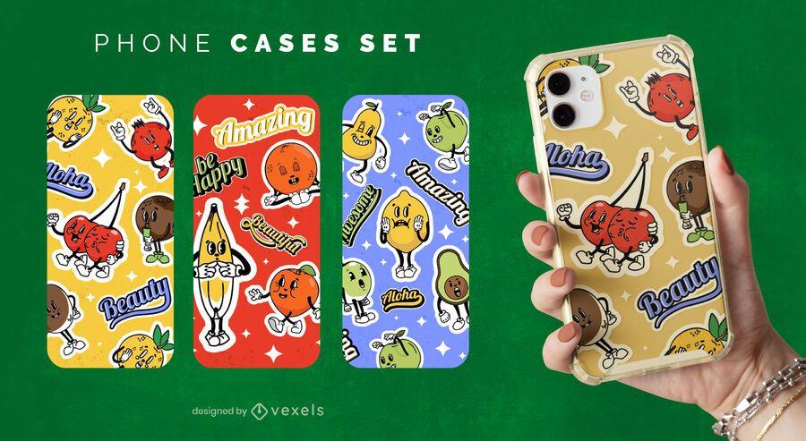 Conjunto de caja de teléfono de frutas de dibujos animados