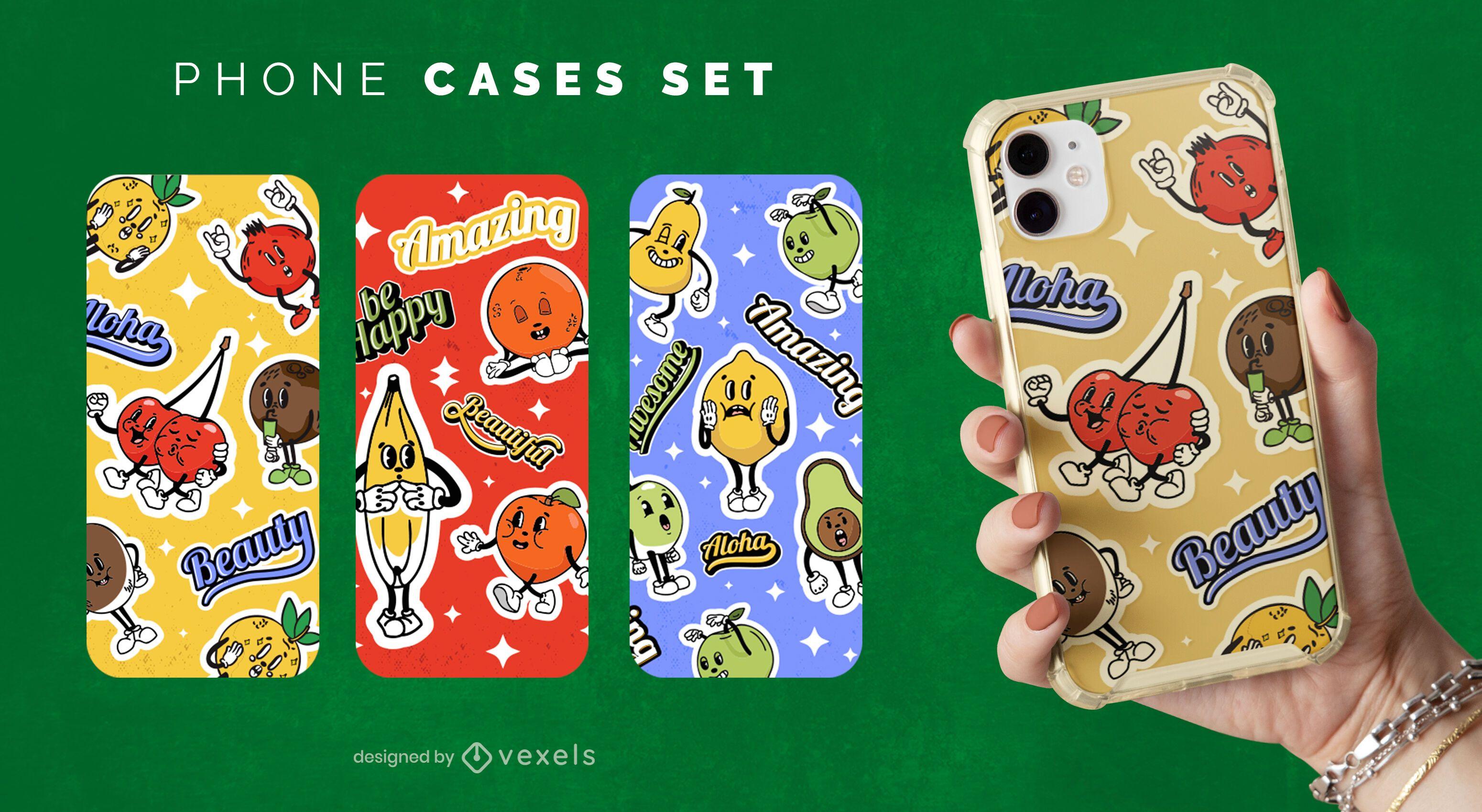 Cartoon fruits phone case set