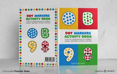 Diseño de portada de libro de actividades de marcadores de puntos